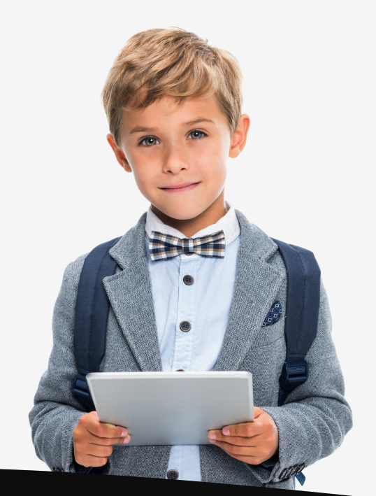little boy smiling while holding tablet