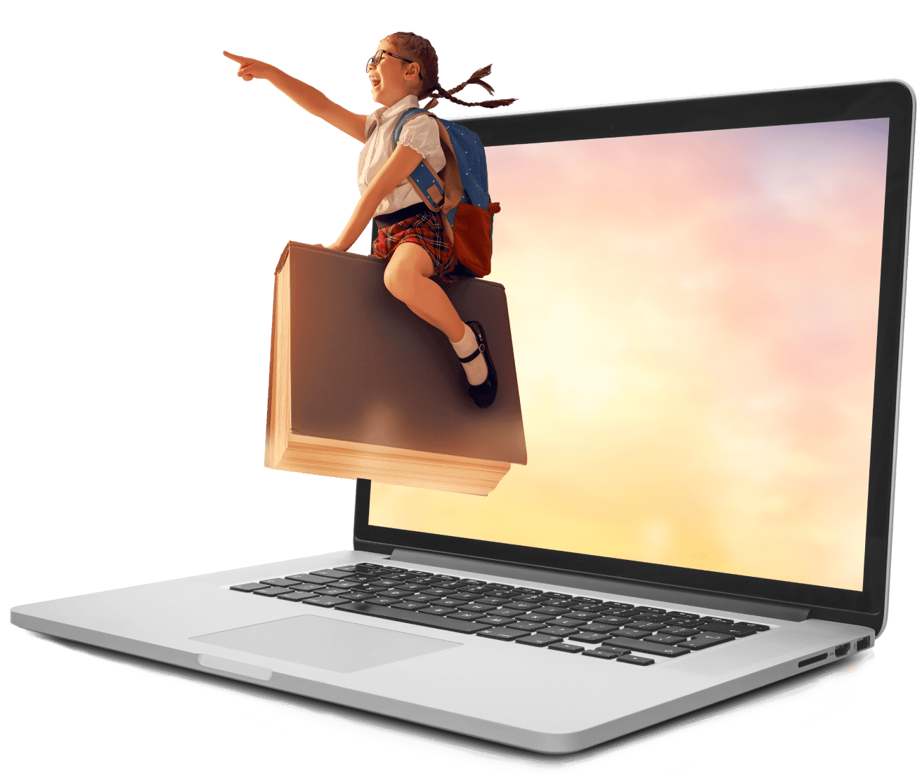 little girl flying on book out of computer screen